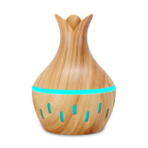 Luftbefeuchter Aromadiffusor 300ml LED ätherisches Öl Diffusor Luftbefeuchter Aromatherapie Holzmaserung Vase Aroma Raum befeuchter für Schlafzimmer Räume Büroraum Yoga Büro Auto