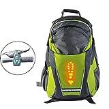 DGN Reflective Rucksack mit LED-Signalisierung, Sicherheits Nacht Radfahren Rucksack, mit drahtloser Fernbedienung, Wasserdicht