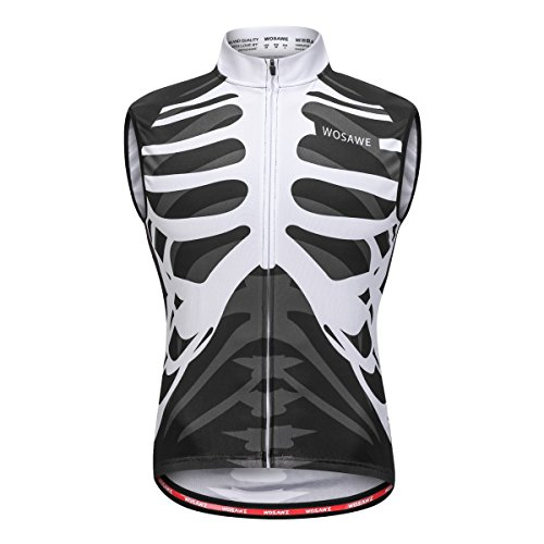 WOSAWE Men's Cycling Sleeveless Jersey Biking Racing Top Vest with Rear Pockets, Skeleton XL