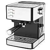 Pequeña máquina de Espresso semiautomáticas 15 Bar, Varita de Vapor, Leche, Lata, Lata de Espresso, Capuchino, Latte, Mocha, Tanque de Agua extraíble de 1,5 l, 850W, Negro