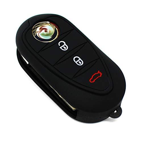 Schlüssel Hülle ALA für 3 Tasten Auto Schlüssel Silikon Cover von Finest-Folia (Schwarz)