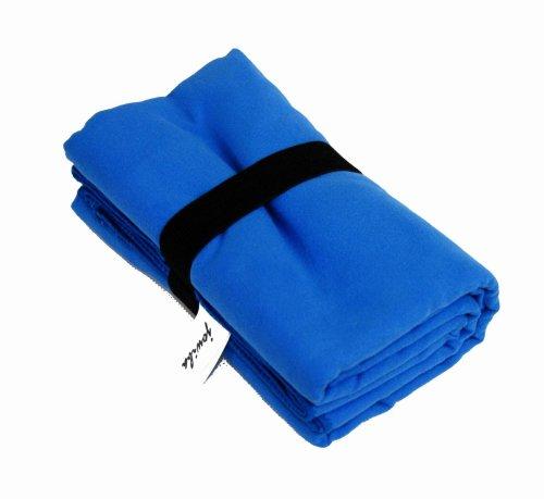 jowiha's Mikrofaser Sport und Reise Handtuch 80x130 oder 40x80 cm in verschiedenen Farben Grün Violett Orange Blau Rot Schwarz mit integriertem Packriemen (Schwarz, 80x40cm)