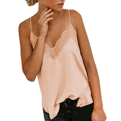 DressLksnf Camiseta sin Manga Moda para Mujer Tops Elegante Camisa Cómodo Camisero de Color Puro Chaleco con Botón Top Básico Suelto Blusa con Lace Encaje (Beige, S)