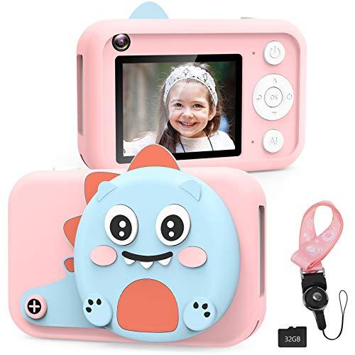 XDDIAS Macchina Fotografica per Bambini, Ricaricabile USB Fotocamera Digitale Selfie con 32G SD, LCD da 2.4 Pollici, Dual Lens Camera Regalo di Compleanno per Ragazzi Ragazze(Rosa)