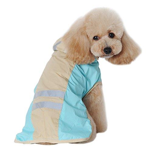 Yuncai Niedlich Groß Hund Regenmantel Reflektierende Wasserdicht Kleidung für Haustier Leicht Regenjacke Blau 7XL