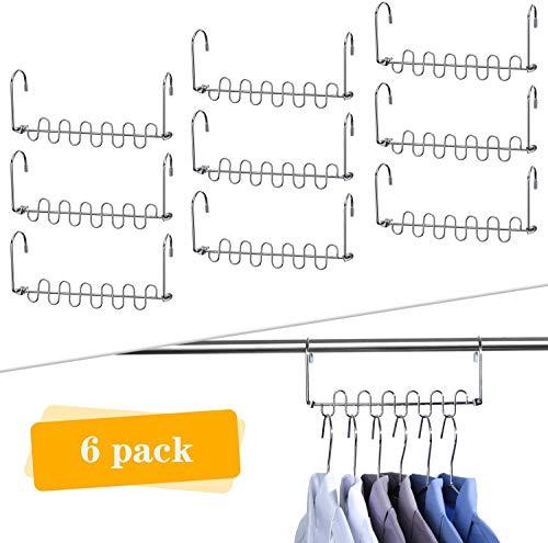 Canby 6 Stück Metall platzsparende Raumsparbügel Kleiderbügelhalter Mehrfachkleiderbügel - Kleiderbügel Garderobe Organizer