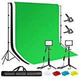 Neewer LED Video Light with White/Black/Green Screen Backdrop & Stand Kit for YouTube/TikTok Video Recording, Video Conference Lighting, Zoom Call Meeting, Game Live, Live Streaming, etc