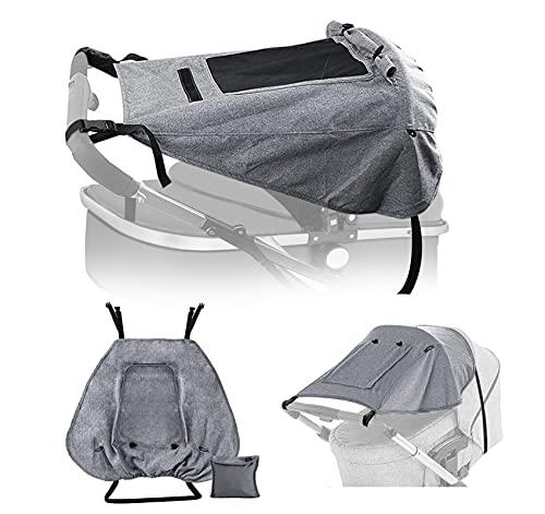Adorfine Kinderwagen Sonnensegel Universal sonnenschutz buggy mit Sichtfenster und breite Seitenflügel mit UV Schutz 50+ und Wasserdicht, Verstellbar Sonnenschutz für Kinderwagen (Grau)