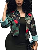 XXXITICAT Women's Ruffle Straight Aviator Coats Outerwear Satin Motorcycle flounced Bomber Jacket(CAMO,GR,XL)