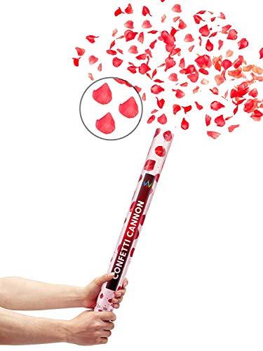 Partyjoker 10 Konfettikanone mit Rosenblätter 40cm für Hochzeit   Hohe Schussweite   Konfetti Shooter - Extra lauter Knall