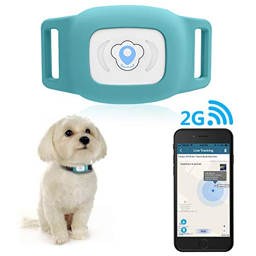 BARTUN GPS Pet Tracker, Cat Dog Tracking Device with Unlimited Range(Blue)