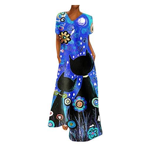 Vimoli Mujer Largo Elegant Vestido Estampado De Leopardo Vestido De Cuello Redondo Bohemio Verano(Azul,5XL)