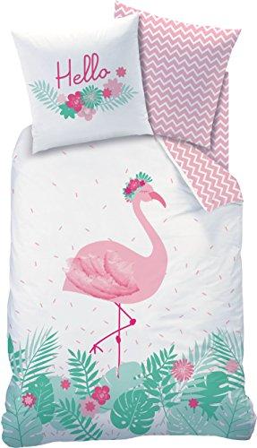 FLAMINGO Parure de lit – HELLO – Flamant rose / fleurs tropicales tendance – Motif réversible – Rose turquoise – Taie d'oreiller 80 x 80 cm + housse de couette 135 x 200 cm – 100 % coton