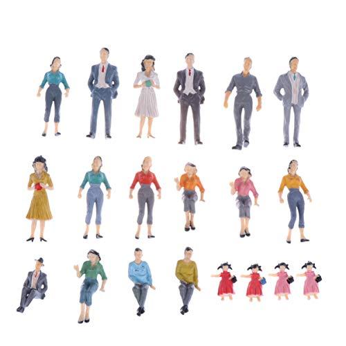 LIOOBO confezione da 20 mini figure dipinte realistiche figurine in miniatura stampo dipinto per casa delle bambole in miniatura con decorazioni paesa