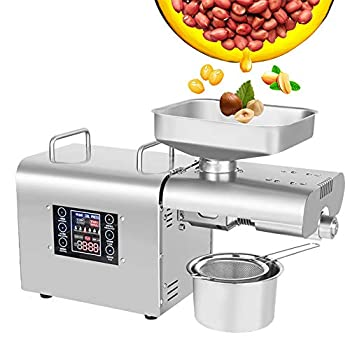 CGOLDENWALL Oil Press Machine Oil Presser Hot Cold Oil Extractor Expeller Intelligent Control Panel/ LCD Touch Screen/ Food Grade Stainless Steel/ Built-in Thrust Bearing  110V US Plug