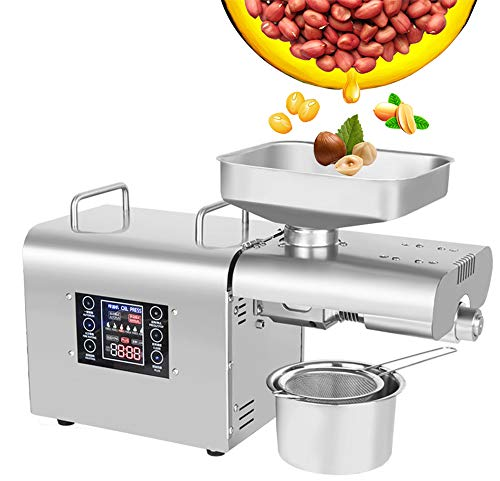 CGOLDENWALL Oil Press Machine Oil Presser Hot Cold Oil Extractor Expeller Intelligent Control Panel/ LCD Touch Screen/ Food Grade Stainless Steel/ Built-in Thrust Bearing (110V US Plug)