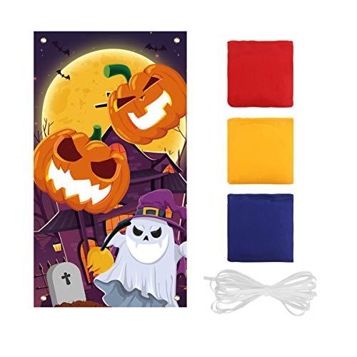 BESPORTBLE Halloween Kürbis Sitzsack Werfen Spiel Festliche Tragbare Werfen Spiel Banner mit Sitzsäcken Party Gefälligkeiten für Halloween Kinder Party