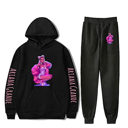 Conjuntos De Deporte Chándal para Mujer, Ariana Grande Sudadera con Capucha De Manga Larga Pantalones De Chándal con Cordón Moda Casual 2Pcs