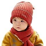 WFF Sombrero 2 unids niño Tejido Sombrero Bufanda bebé Invierno cálido...