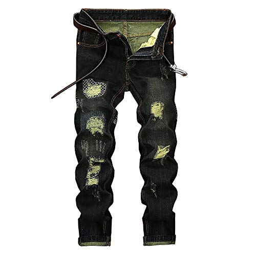 KEERADS HOMEE Vintage Rétro Jeans Pantalon de Travail Militaire Cargo Pants Casual Trousers en Denim sans Ceinture(32(FR42),Beige)
