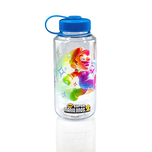 JUST FUNKY Super Mario Bros 6-Inch Plastic Water Bottle | Super Star Ice Cubes