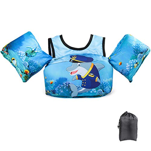 Schwimmflügel Schwimmweste mit Schultergurt für Kinder Kleinkinder von 2-7 Jahre 15-30kg Schwimmen Lernen Schwimmhilfe mit verschiedenen Designs für Jungen und Mädchen (Captain Dolphin)