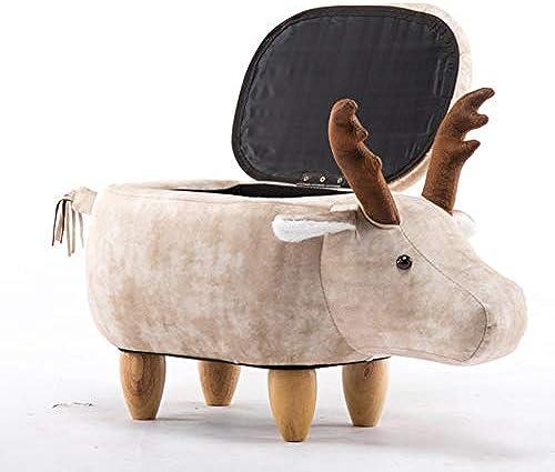 TENCMG Massivholz Hocker Sofa Bench - Creative Cattle schuhe Hocker Designe - M laufbewahrung Niedriger Hocker Aufbewahrungshocker,F,65X37X35CM