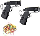 Facaing 2 Packs Rubber Band Gun Toy Easy Load Foldable Handmade Toy Gun Mini Metal Rubber Gun with Keychain and 120 Elastic Rubber Bands