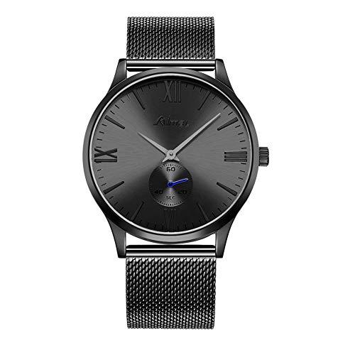 Orologio da Polso da Uomo Slim Watch Ultra Sottile Ø40mm Orologio da Polso Casual di Lusso Fashion Business con Maglia in Acciaio Inossidabile Grigio Bracciale Milanese e Quadrante Secondario