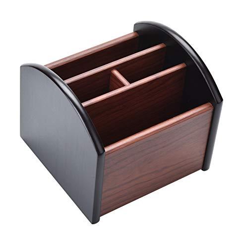 Siveit Wooden Desk Organizer, 4 Compartment Revolving Wood Desktop Organizer Office Supplies Rotating Remote Control Caddy Holder (Desk Organizer-4)