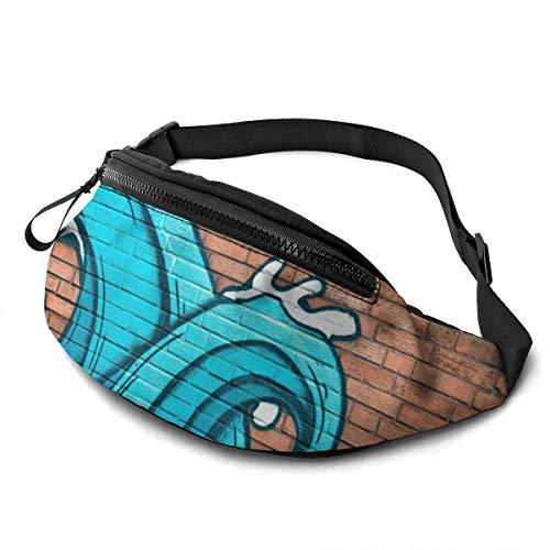 GOSMAO Riñonera Deportivo Bolso Cintura Cinturón Ajustable Running Belt Bolsa de Correr Olas Azules