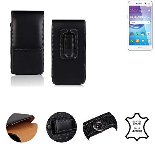K-S-Trade® Holster Gürtel Tasche Für Huawei Y6 2017 Dual SIM Handy Hülle Leder Schwarz, 1x