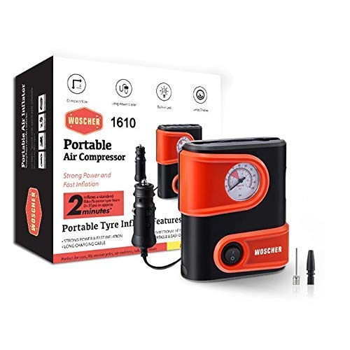 Woscher 1610 Portable Mini Tyre Inflator, 12V DC 100 PSI Tire Pump for Bike, Scooter & Car