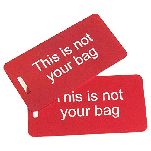 This is not Your Bag, Set of Two, Red Luggage Tag, Metal Bag Tag