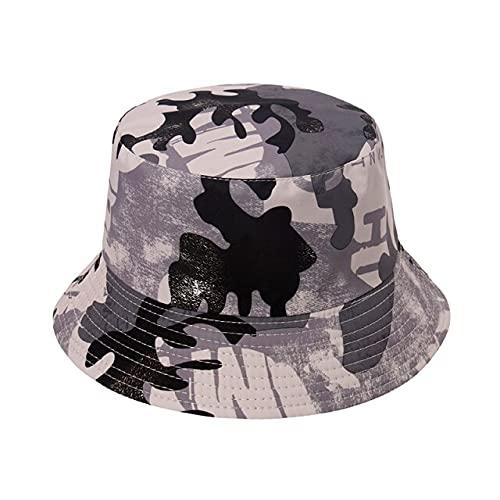Moda Punk Negro Blanco Vaca Graffiti Bucket Sombreros Al Aire Libre Pesca Gorras Hombres Verano Hip Hop Bob, E, Talla única