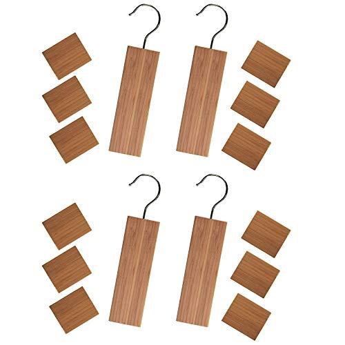 Huji Aromatic Cedar Moth Protection Closet Hang Up Protects Clothes Four Set 4 Cedar Hangers and 12 Blocks