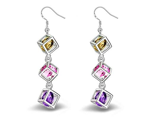 QYTSTORE Fashion Square Colored Zircon Earrings In 925 Sterling Silver, Size: 5.5 * 0.6 Cm, Women's Sterling Silver Jewelry Beautiful and stylish
