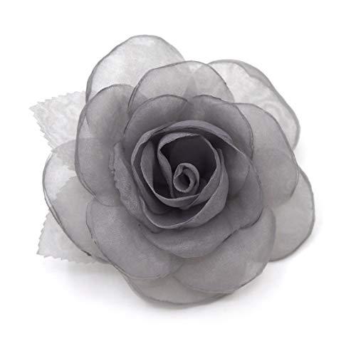 LIDA LYDI - Spilla a forma di fiore in tessuto di organza, colore grigio.