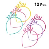 Lurrose - Diademas para el pelo con corona de plástico para niña, 12 unidades