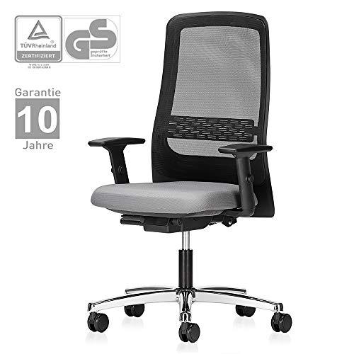Interstuhl Bürostuhl 172I - ergonomischer Schreibtischstuhl mit verstellbaren 2D Armlehnen und höhenverstellbarer Rückenlehne – Drehstuhl modern mit rückenschonender Ergonomie und Netzrücken