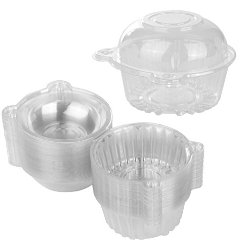 100 Single Individual Cupcake Muffin Holders Clear Plastic Cupcake Dome Holders, Cupcake Pods Carrier Case Boxes With Resealable Lids