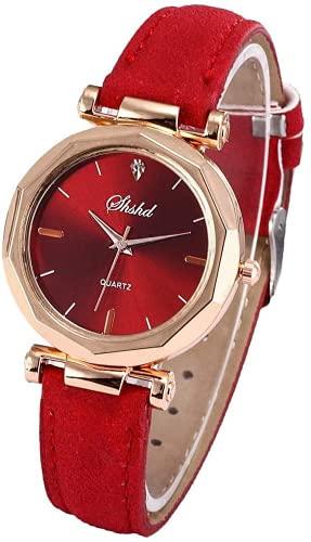 Reloj de cuero artificial con diamantes de agua y correa de reloj suave británica; correa de cuarzo, forma redonda, perfecta para mujeres