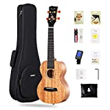 Enya Tenor Ukulele 26' all Solid Mahogany with Cherry Blossom Pattern Ukelele Starter Kit With Case, Tuner, Strap, Strings, Capo, Sand Shaker, Picks, Polish Cloth (EUT-MS)