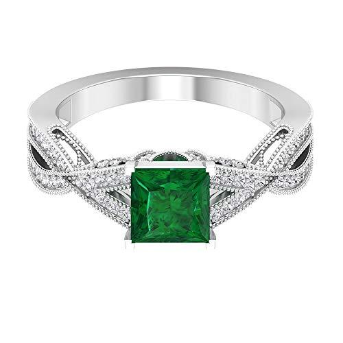 Rosec Jewels 14 quilates oro blanco talla princesa round-brilliant-shape H-I Green Diamond Zafiro azul Leb creado