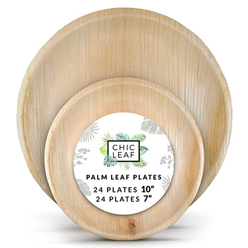 Chic Leaf Palm Leaf Plates Disposable Bamboo Plates Like 10 Inch & 7 Inch Round Party Pack (48 pk) Compostable and Biodegradable - Better than Plastic, Paper and Wood Plates