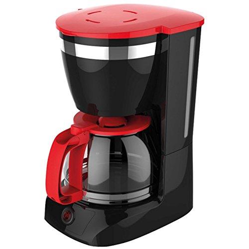Cafetera de goteo con filtro, color negro y rojo