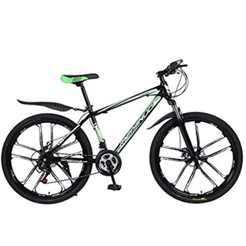 Bicicletas de montaña para hombre de 26 pulgadas, bicicletas con frenos de disco, bicicletas de montaña profesionales ultraligeras cuadro fuerte aleación aluminio,24/black ~green,carbon steel