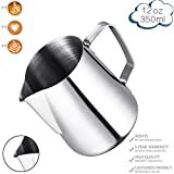 Milk Frothing Pitcher, Stainless Steel Latte Art Creamer Cup Silver 12 oz (350 ml) for Espresso Machines,Mirror Finished