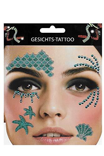 Gesichtstattoo Meerjungfrau Tattoo Hautaufkleber Karneval Junggesellenabschied