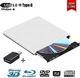 Lettore Dvd Esterno Blu Ray, Lettore Dvd Esterno 3D Blu Ray, USB 3.0, Portatile Ultra Sottile BD/CD/Dvd RW per Windows 10/7/8/Vista/XP/Mac OS Linux (Bianco)
